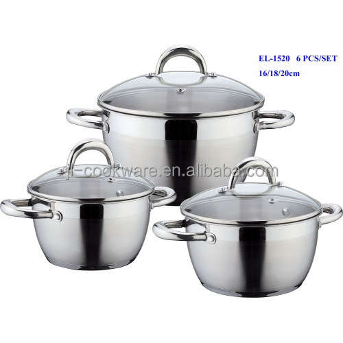6pcs 201 small factory stainless steel cookware as seen on tv cooker