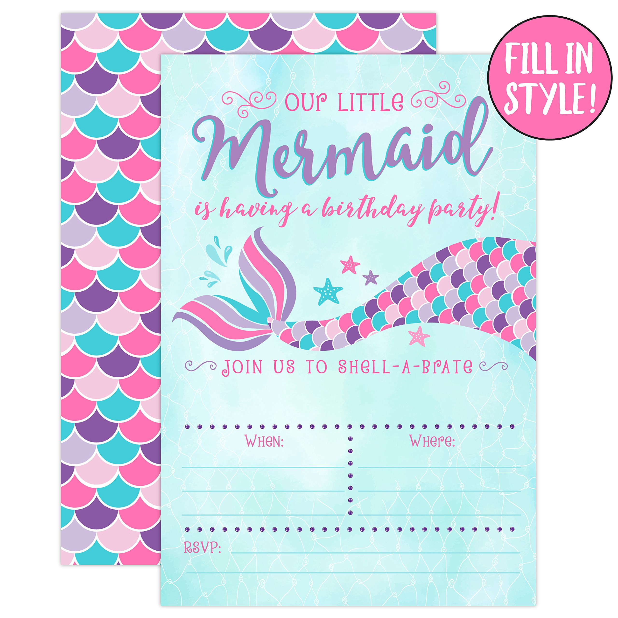 This is an image of Irresistible Mermaid Birthday Invitations Free Printable