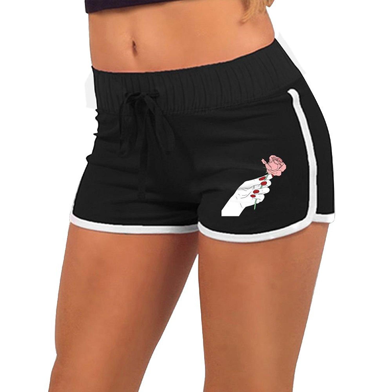 703d243fa4 Get Quotations · New Summer Pants Women GirlCartoon Pink Rose HandSports Shorts  Gym Workout Yoga Short Women Shorts Hiphop