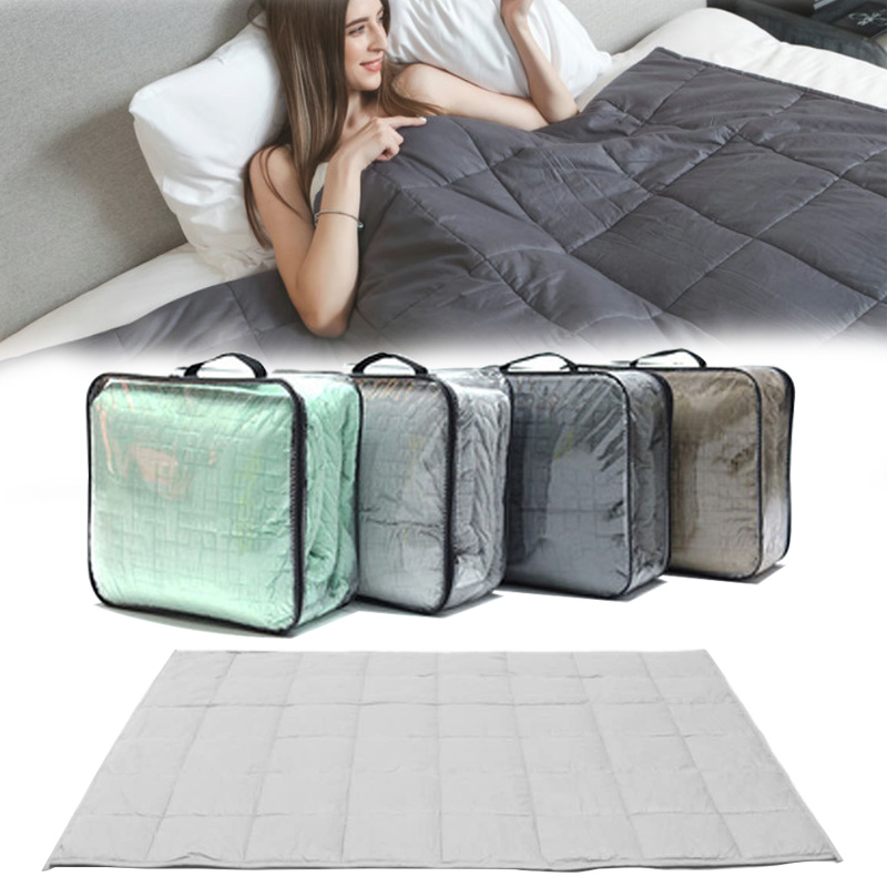 China manufacturer supply glass beads filled small box / pocket quilted corner with tabs summer cooling heavy weighted blanket