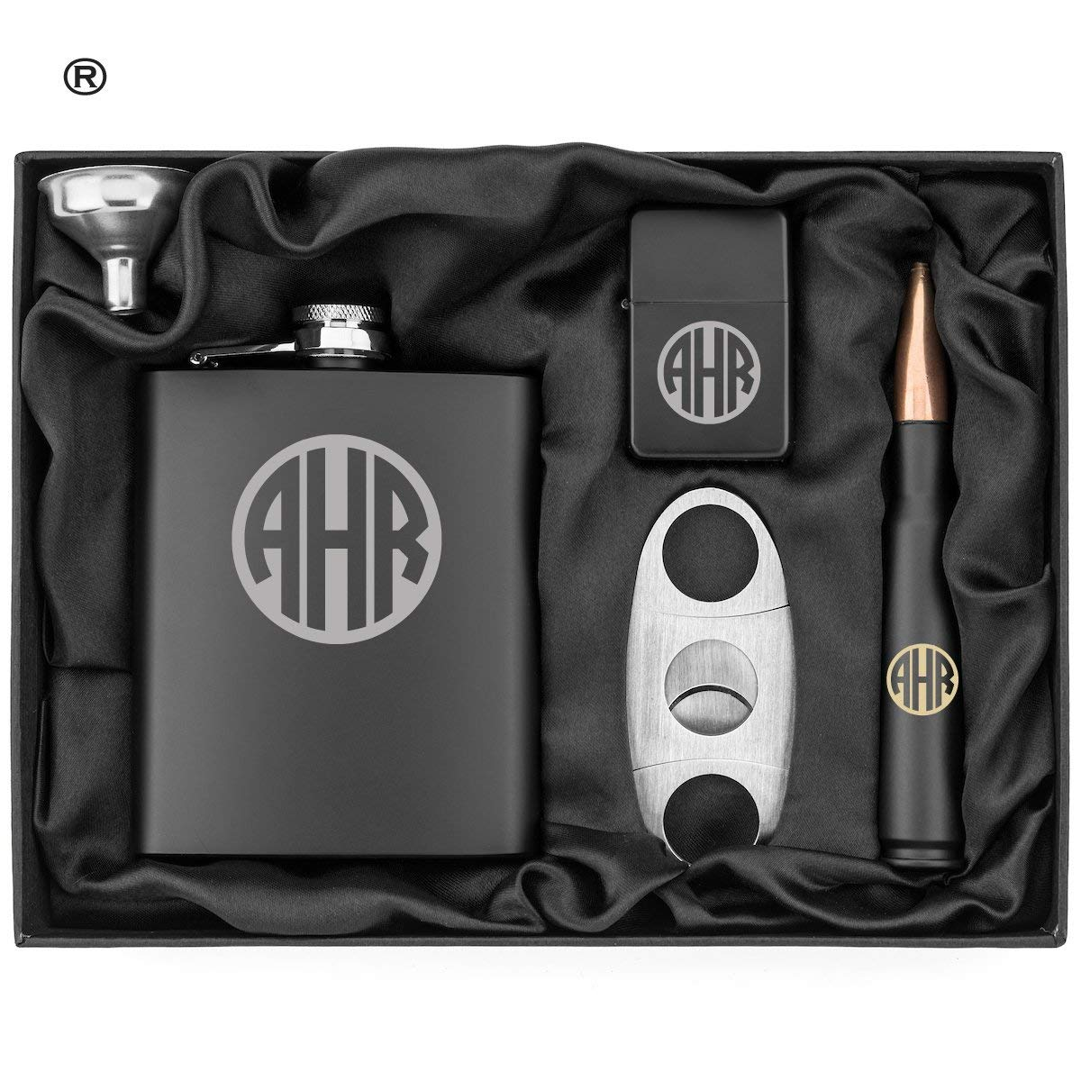 Circle Monogram Engraved Hip Flask, Funnel, Lighter, Cigar Cutter and 50 Caliber Bullet Bottle Opener Matte Black Gift Box 50 Cal Custom Personalized