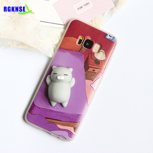Cat Squishy Toys Custom 3D Silicone Nail Finger Silicone Slow Rising Squishy Phone Case for iPhone 6/6plus/7/7plus