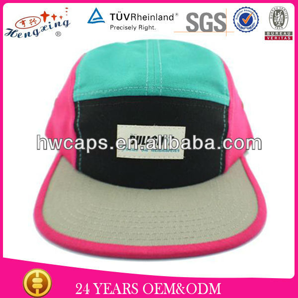 Fashion 100% cotton helas 5 panel hat flat brim 5 panel hat