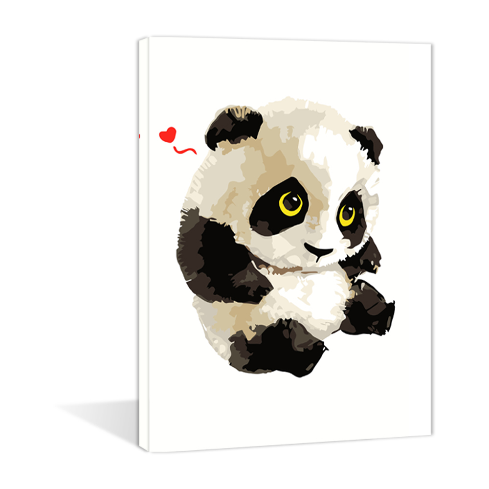 The Panda Cartoon Diy Paint By Number Stretched The Gift Handmade Oil Painting on canvas
