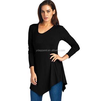 womens long sleeve rayon spandex asymmetrical tunic top