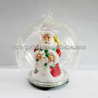 Decorative led glass Christmas santa figurine
