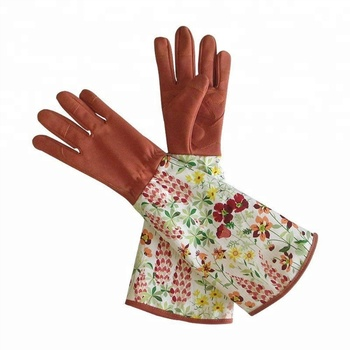 Leather Gardening With Thorn Proof Garden Gauntlet For Ladies With Long  Polyester Print Floral Sleeves Gloves