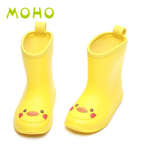 wholesale custom cheap yellow duck pvc transparent rain boots for kids plastic boots for rain