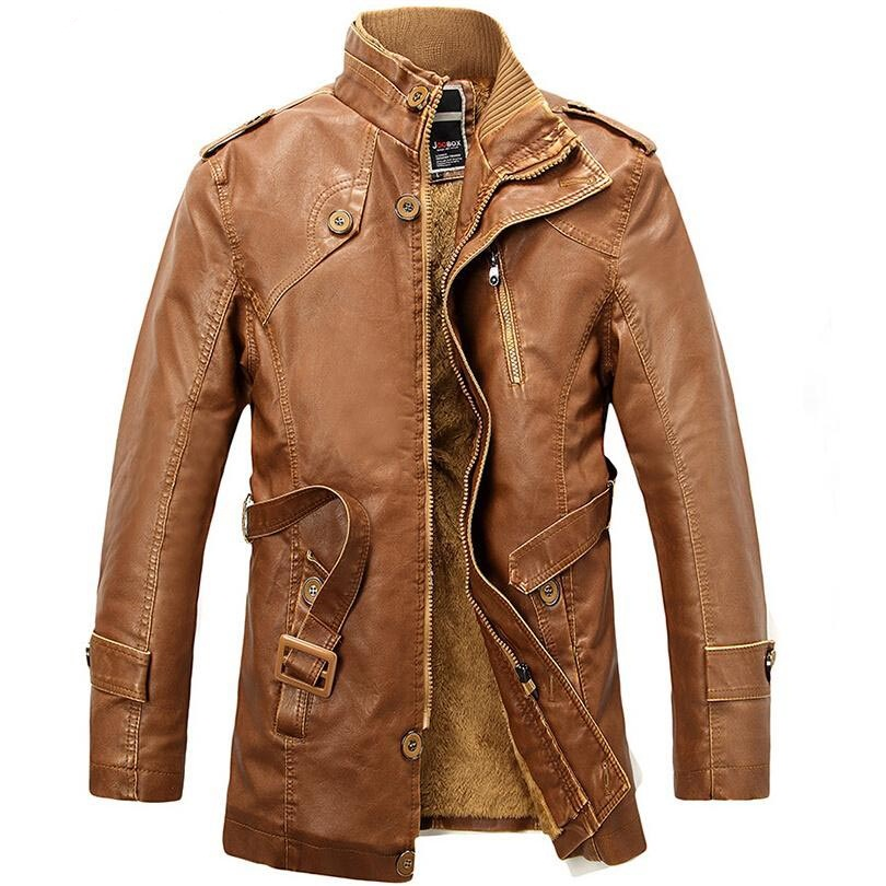 Winter Leather Jacket men long wool leather Standing Collar Jackets Coat Trench parka mens leather jackets and coats XXXL