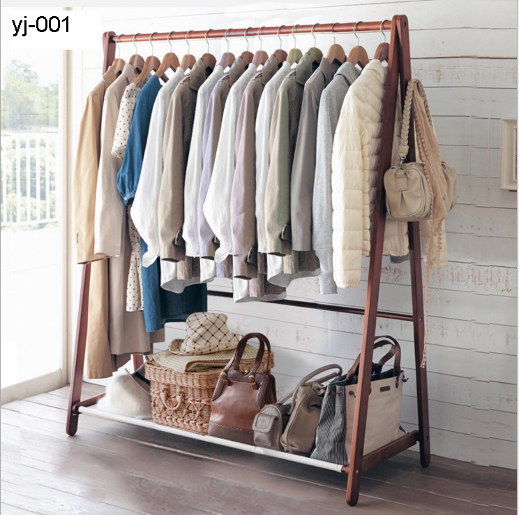 Factory Sell Movable Wooden Clothes Hanger Stand Hanging Clothes Drying  Rack Bedroom Clothes Hanger Stand Floor
