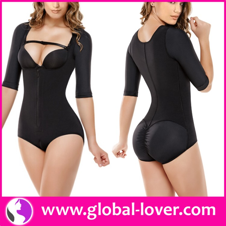 Cheap women sexy half sleeve black perfect full body shaper custom bodysuits