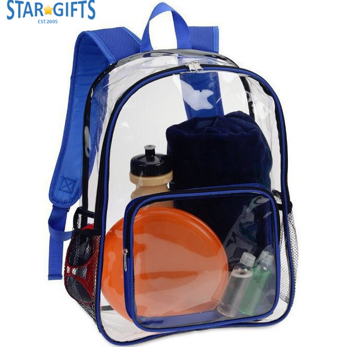 2017 Hot Selling Travel Water Proof PVC Back Pack Custom Printed Clear School Bags