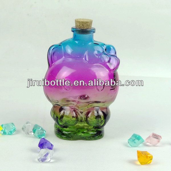 Hallo kitty glasflasche mit korken, glaskunst Sand art glasflasche, glas lucky star glasflaschen