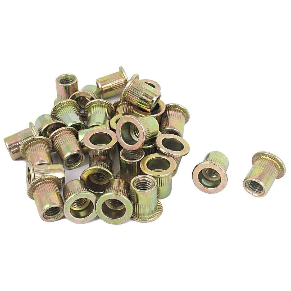 TOOGOO(R) M6x12mm Flat Head Rivet Nut Rivnut Insert Nutserts Fasteners 30 Pcs