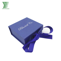 Custom Logo Ribbon Closure Jewelry Gift Packaging Paper Box With Black Foam Insert