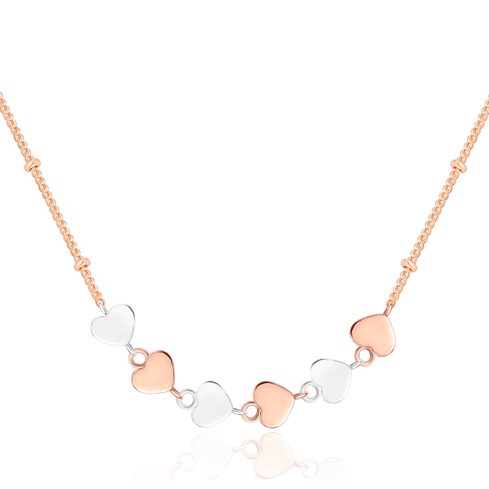 Minimalist <strong>Fashion</strong> Two Tone Silver/Rose Gold Plated Copper Six Interlocking Heart Linked to Heart Jewelry Necklace Wholesale