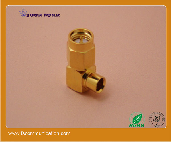 SMA male right angle 90 degree connector for RG402 cable