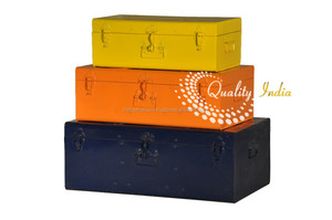 Set Of Three Metal Colorful Storage Trunk