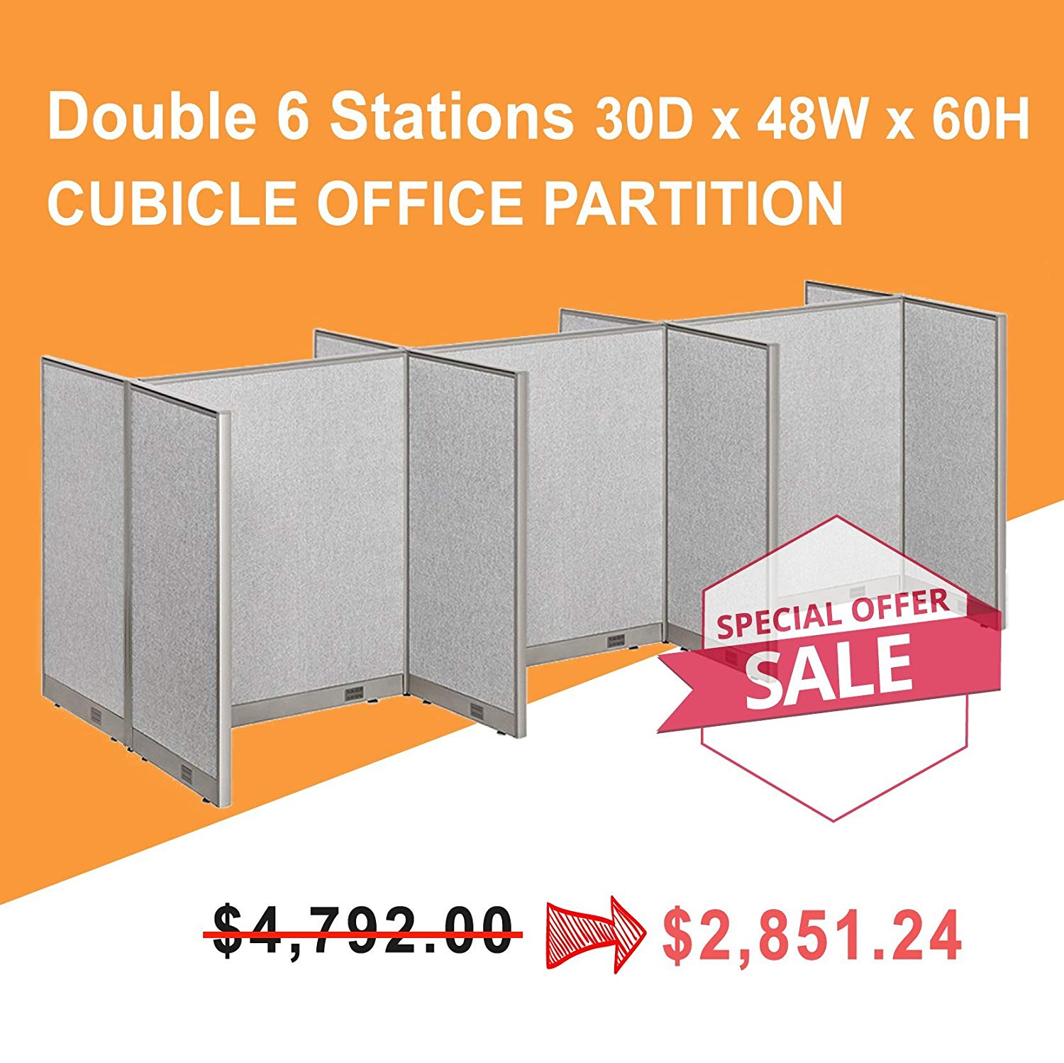 [Limited Time Special] GOF Call Center Cubicle, workstations 30D x 48W / Office Partition (5' x 12' (30D x 48W x 60H))