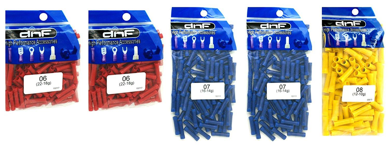 DNF 500 Pack Copper Vinyl Insulate Butt Connectors Combo 22-10 Gauge R(200 Pcs 22-18G) + B(200 Pcs 16-14G) + Y(100 PCS 12-10G)