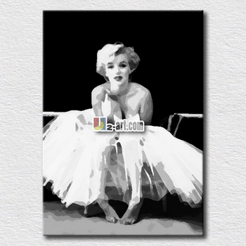 White Dressed Marilyn Monroe Canvas Art For Kids Bedroom Decoration
