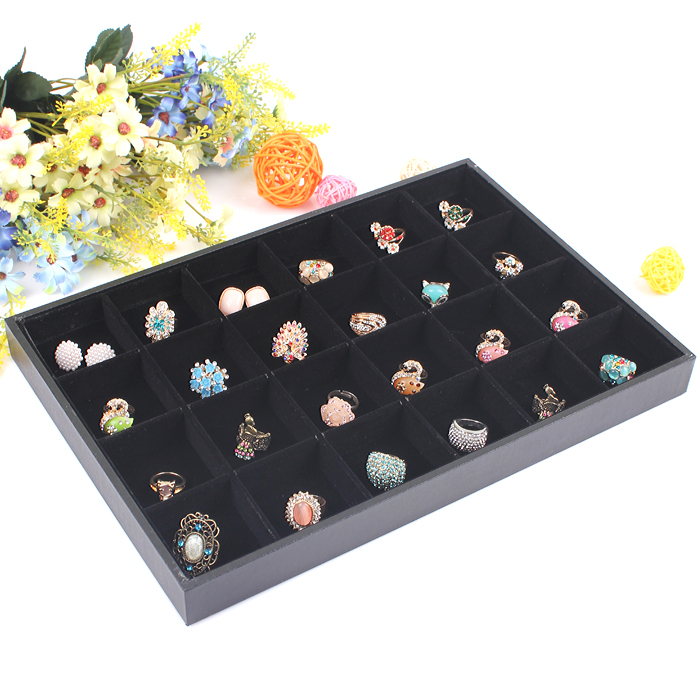 24 grids Jewelry display tray necklace holder Box bracelet stand plate necklaces Showcase beads organizer Boxes Display Case