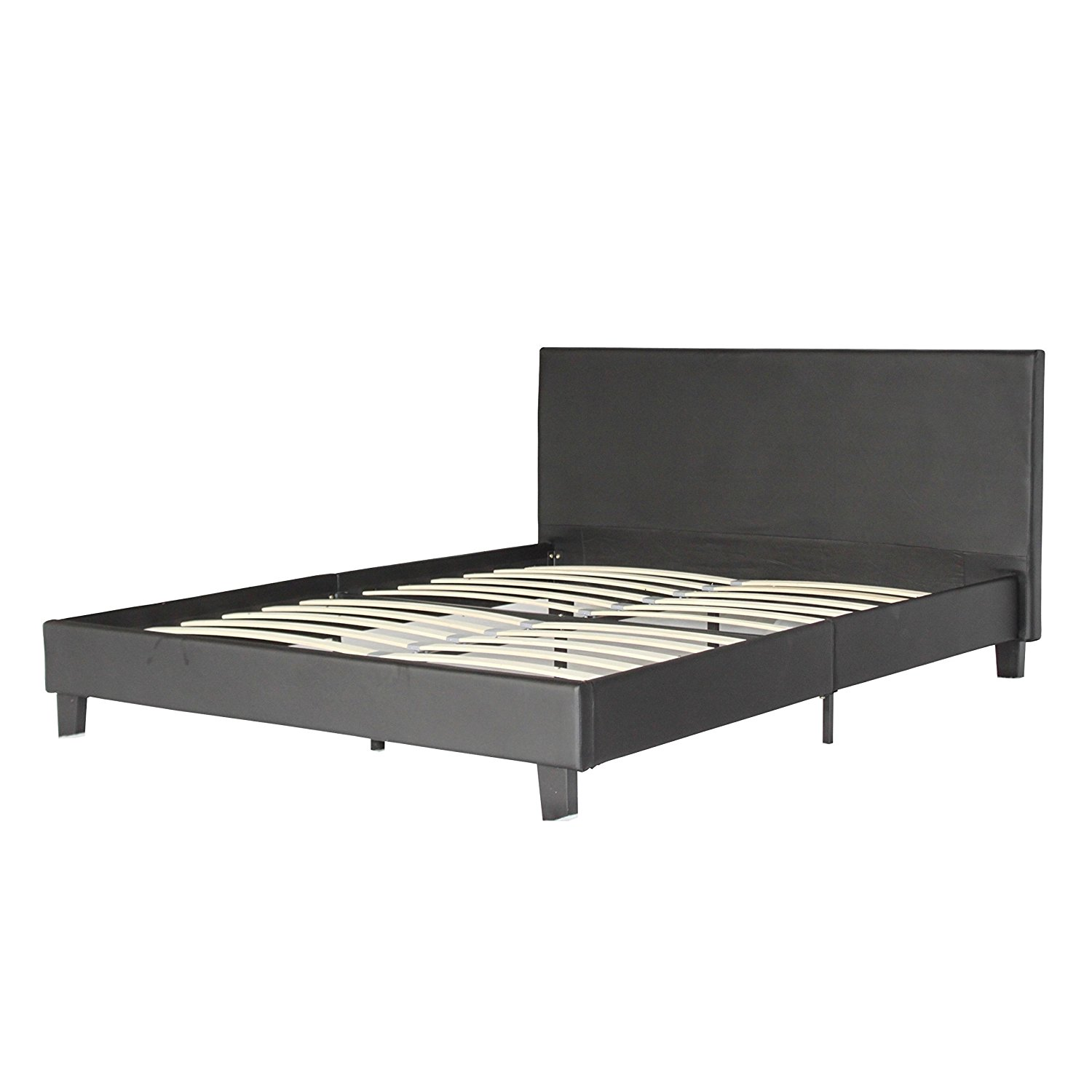 Container Furniture Direct Walker Collection Modern Faux Leather Platform Bed with Wooden Slats, Queen Size, Black