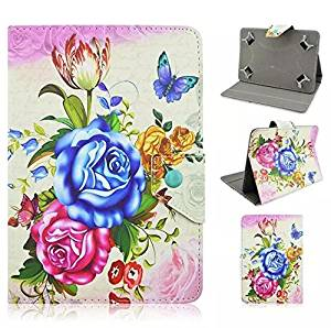 "PU leather Slim 9inch 10inch tablet Fit Folio Stand Leather Case Protective Cover with Multi-angle Stand for 9"" 9.6"" 9.7""10.1"" 10.5"" Touchscreen Tablet (10-Rose 4)"