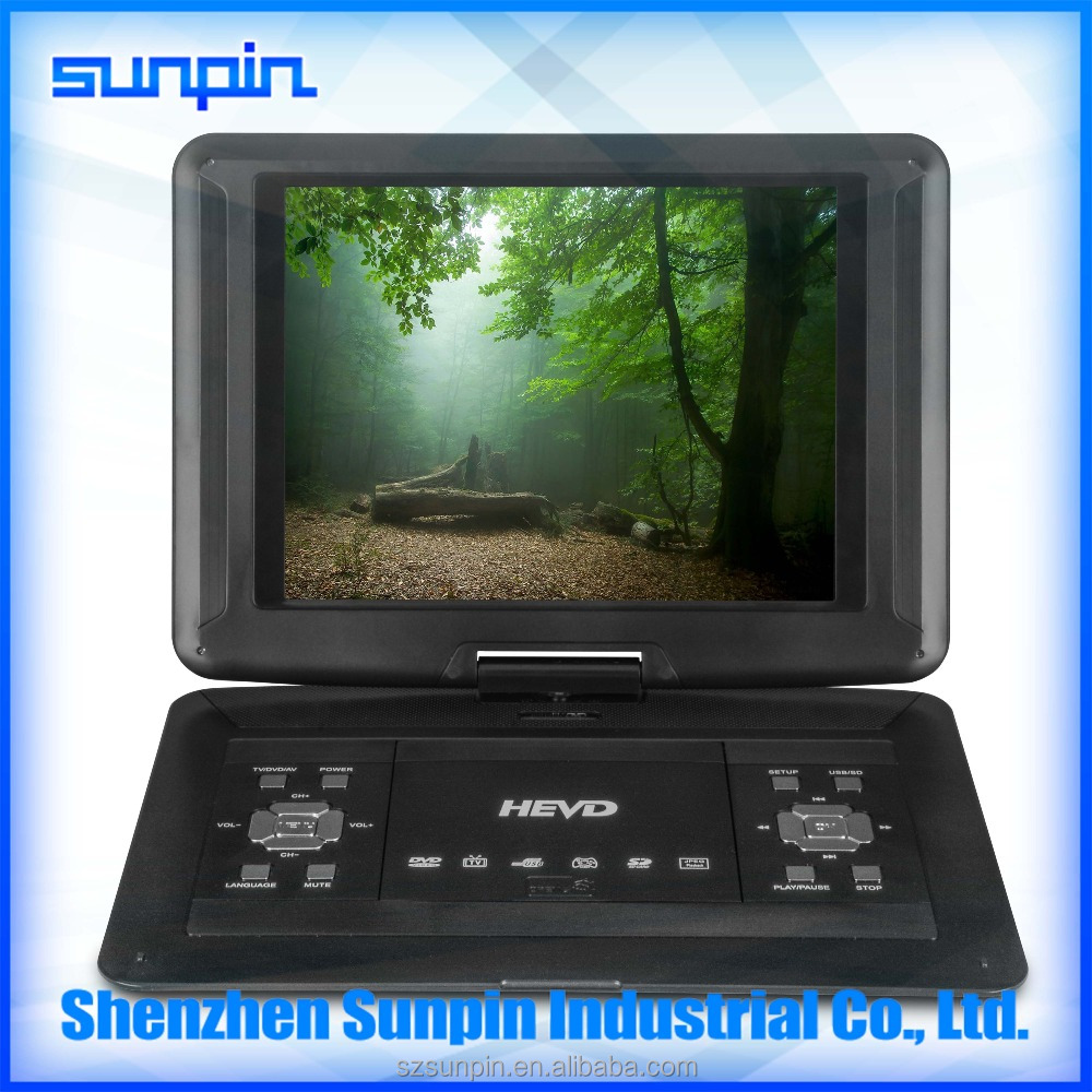 13 inch large screen laptop style portable dvd player with analog tv