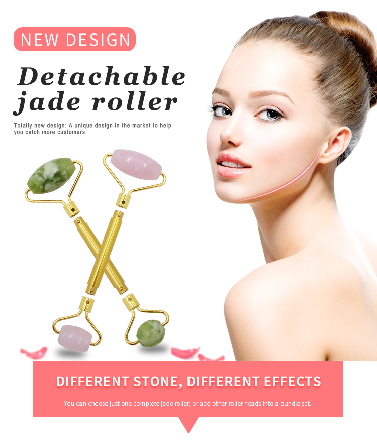 MuShang DIY Custom design natural jade face roller DIY Detachable Nephrite jade roller for sale