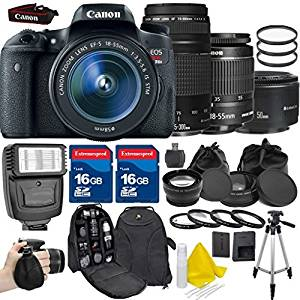 Canon EOS Rebel T6s 24.2MP EF-S 18-55mm IS STM Digital SLR +Canon EF 75-300mm f/4-5.6 III +Canon EF 50mm f/1.8 II +2pc 16GB High Speed Memory Cards +UV Filter +Deluxe Case - International Version