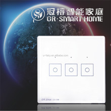IOT z-wave smart home gateway 868.42/908.42mhz white glass panel home light wireless outdoor electrical switches