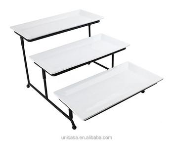 Unicasa 3 nivel rectangular plato tres pastel bandeja - Rack para platos ...