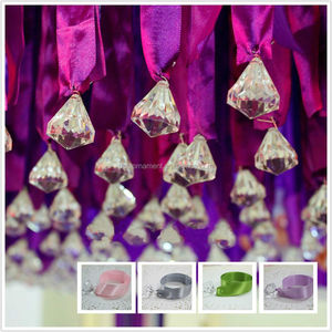 Acrylic Crystal Diamond Satin Ribbon Hanging Bead Wedding Decor