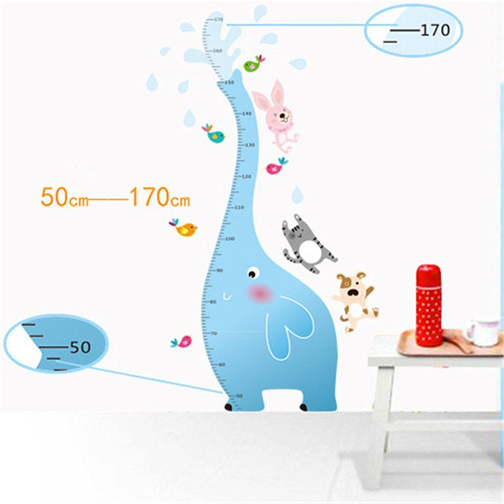Kaymi Removable Cartoon wall stickers Children's room decor Stickers Cute elephant height stickers Baby measuring height stickers AY9020