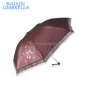Slim Color-Coated Pongee Fabric Umbrella With Lace Edge