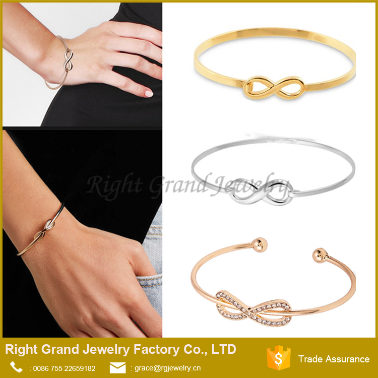 2017 Wholesale New Designer Simple Circle Charm Symbol Jewelry Girls' Infinity Stainless Steel Bracelet