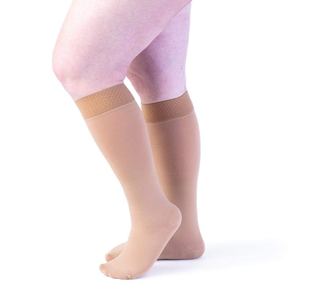 0179a5c027677 Get Quotations · Sigvaris Secure 554 Women's Closed Toe Knee Highs w/SIL  Band - 40-50