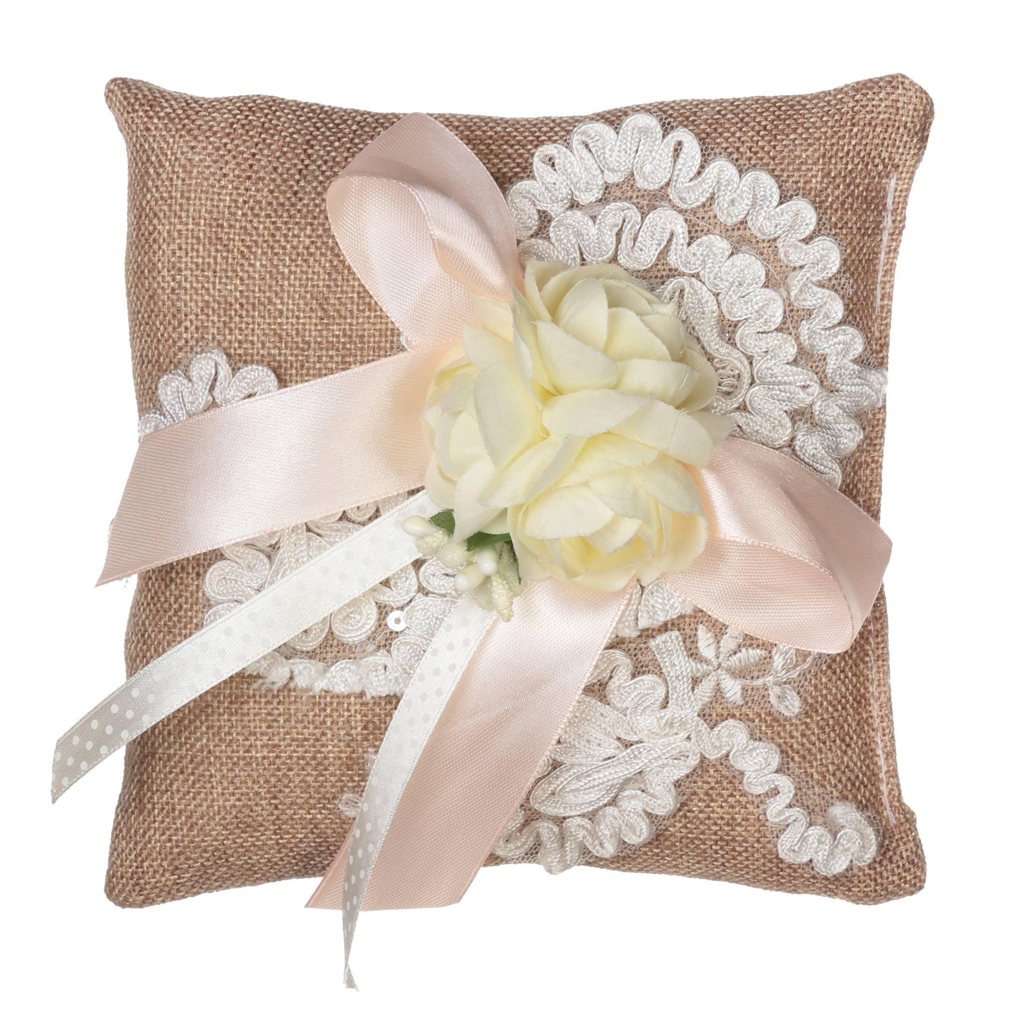 Buy romantic burlap rustic wedding ring pillow with flowers and lace romantic burlap rustic wedding ring pillow with flowers and lace izmirmasajfo