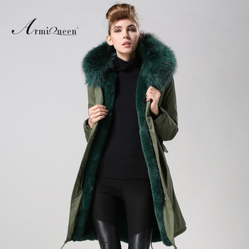 Winter Long Style Emerald Green Parka With Big Hood Raccoon Collar ... 2718cb82face
