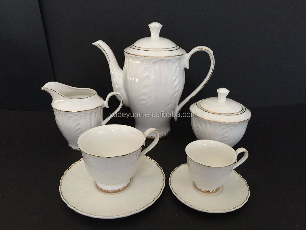 New bone china Algeria golden tea set porcelain emboss cup set tea cup gift box