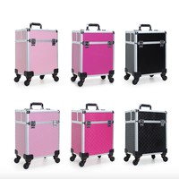 wholesale Professional Portable Aluminum cosmetic vanity case trolley box makeup train case