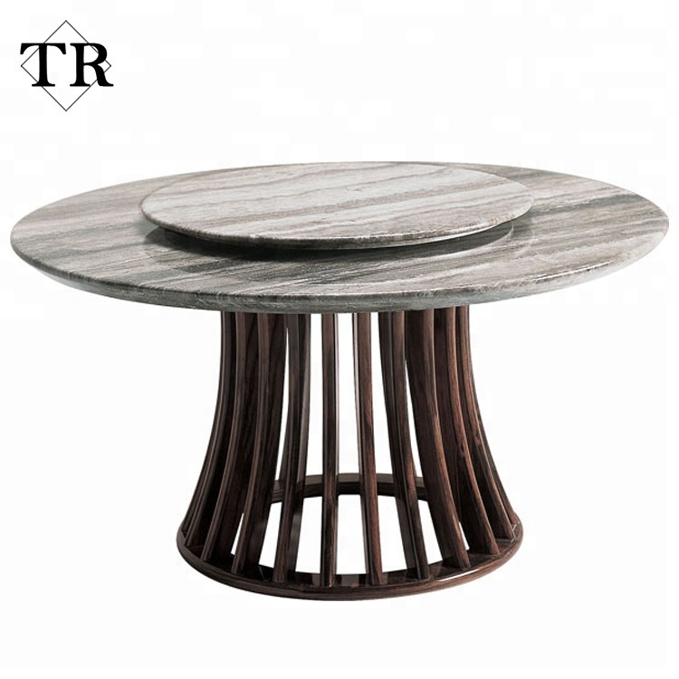 Luxury Nature Round Marble Travertine Stone Top Dining Table Two Layers