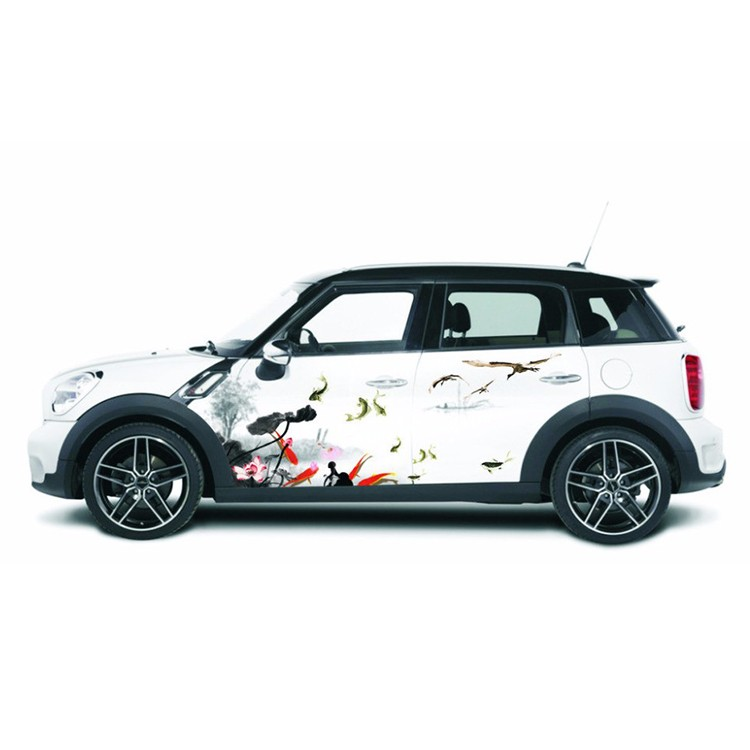 Waterproof white customized sample car sticker design