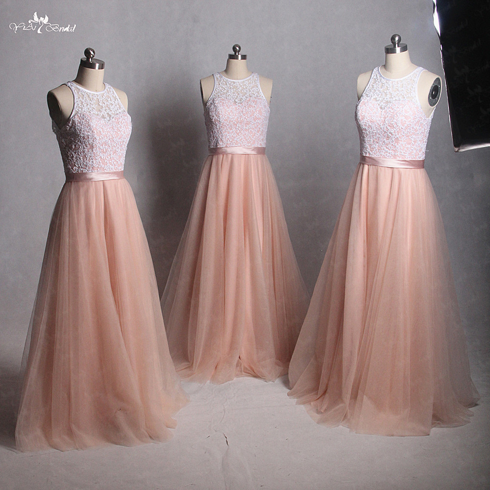 RSE812 Latest Wholesale Real sample Long Lace Coral Peach Bridesmaid Dress