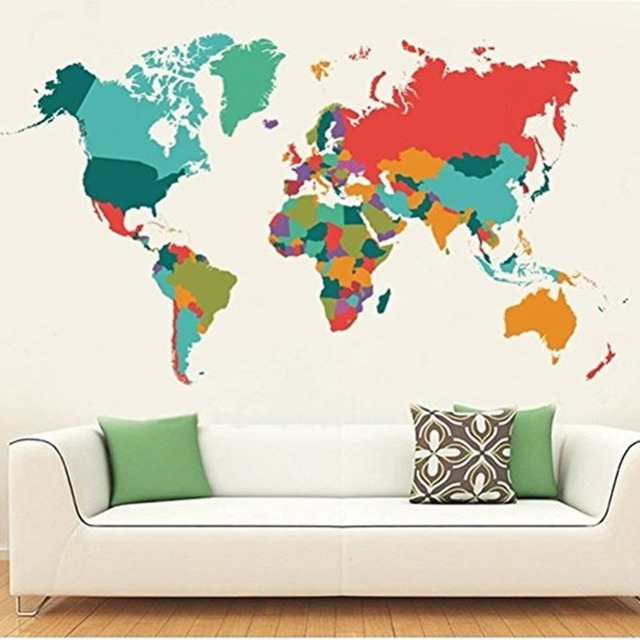 Colorful World Map Wall Decals Peel And Stick Removable Wall Stickers DIY  Art Decor Mural Vinyl