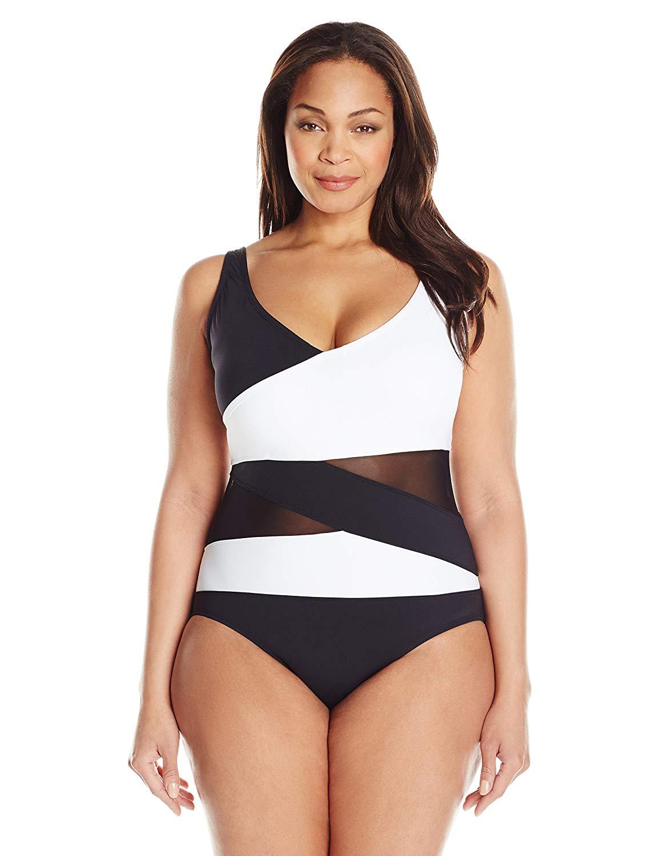 Anne Cole Women's Plus-Size Mesh-Insert Asymmetric Spliced One-Piece Swimsuit
