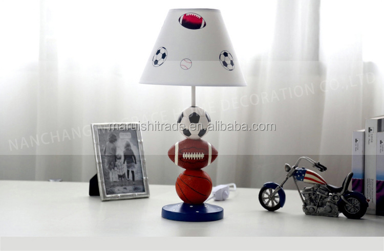 3 Stacked Ball Sports Themed Kids Table Lamp With Shade