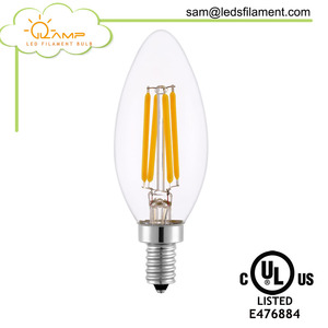 Chandelier Lighting 4W Led Candle Lamp 2700K Dimmable E14 Led Filament Bulb, E14 Dimmable Candelabra Led Bulb