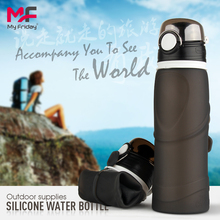 750ml Wide-Mouth Cool Silicone Drinking Collapsible Leak Proof silicone sports Water Bottles